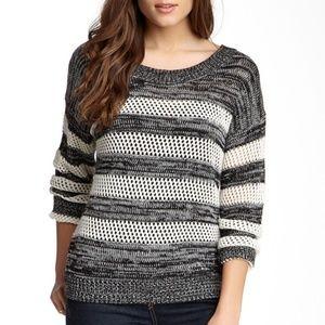 Black & White Striped Open Weave Sweater Pullover